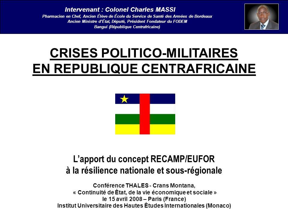 PAGE 32/41 Conclusion IV - Résultats de la résilience nationale et bilan defficacité III - L éternel recommencement CRISES POLITICO-MILITAIRES EN REPUBLIQUE CENTRAFRICAINE IntroductionI - Centrafrique II Panorama RECAMP : mission accomplie Pendant douze mois, la situation politique et militaire s étant normalisée et la paix consolidée, la MISAB passe le flambeau, le 02 février 1998, à la MINURCA (Mission des Nations Unies en République Centrafricaine).