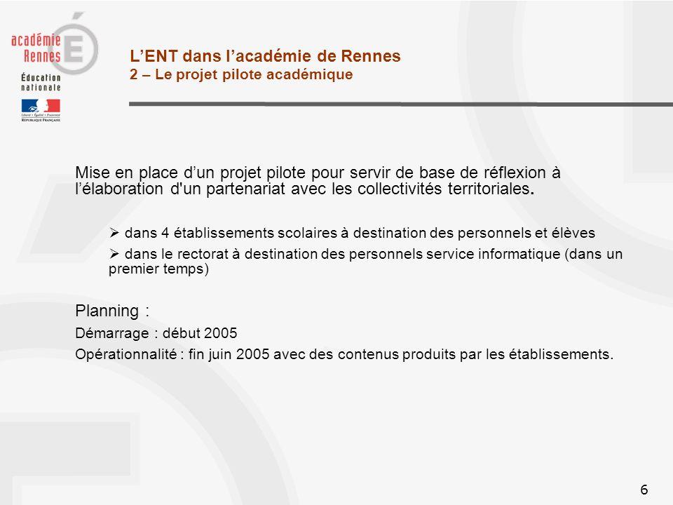 6 LENT dans lacadémie de Rennes 2 – Le projet pilote académique Mise en place dun projet pilote pour servir de base de réflexion à lélaboration d un partenariat avec les collectivités territoriales.