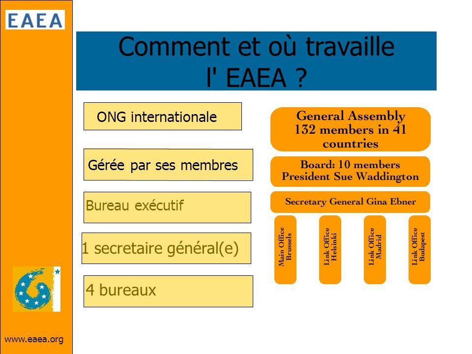 www.eaea.org Comment et où travaille l' EAEA ? Bureau exécutif 1 secretaire général(e) 4 bureaux ONG internationale Gérée par ses membres