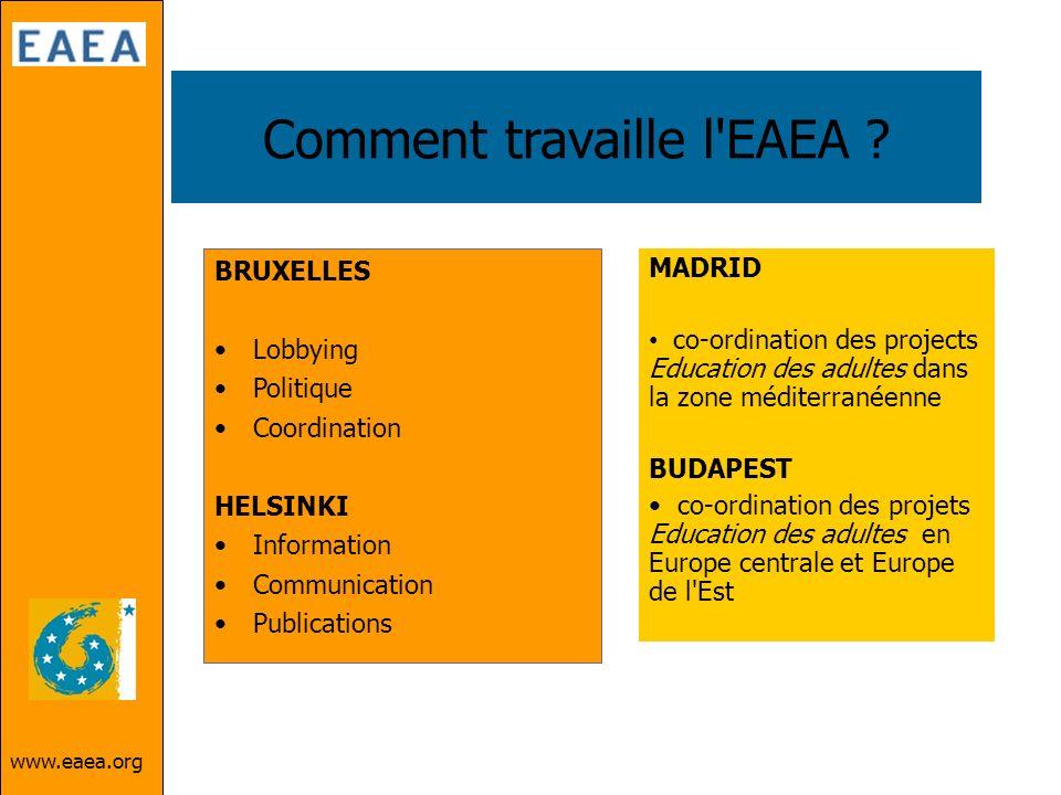 www.eaea.org Comment travaille l'EAEA ? BRUXELLES Lobbying Politique Coordination HELSINKI Information Communication Publications MADRID co-ordination
