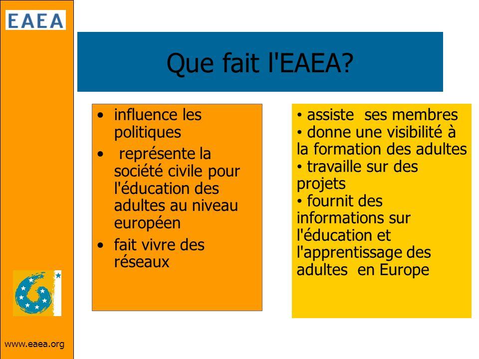 www.eaea.org Que fait l'EAEA? influence les politiques représente la société civile pour l'éducation des adultes au niveau européen fait vivre des rés