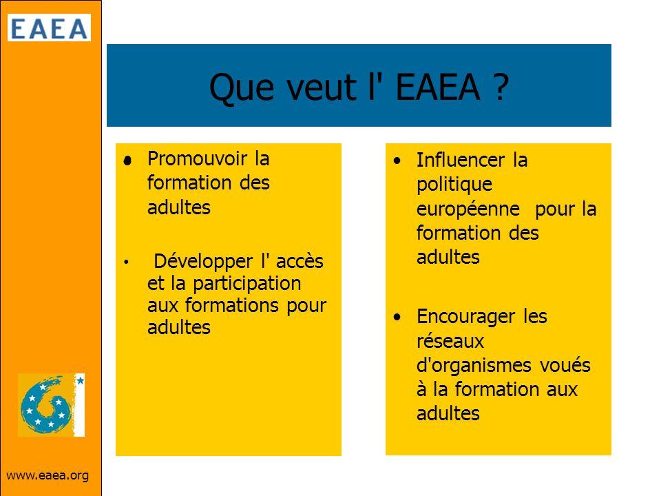 www.eaea.org Que veut l' EAEA ? Influencer la politique européenne pour la formation des adultes Encourager les réseaux d'organismes voués à la format
