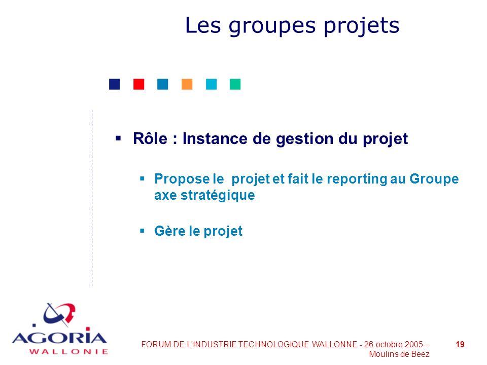 19FORUM DE L'INDUSTRIE TECHNOLOGIQUE WALLONNE - 26 octobre 2005 – Moulins de Beez Les groupes projets Rôle : Instance de gestion du projet Propose le
