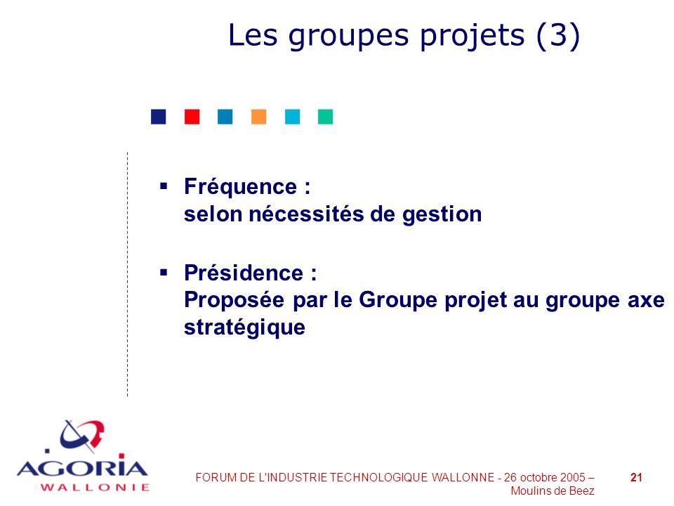 21FORUM DE L'INDUSTRIE TECHNOLOGIQUE WALLONNE - 26 octobre 2005 – Moulins de Beez Les groupes projets (3) Fréquence : selon nécessités de gestion Prés