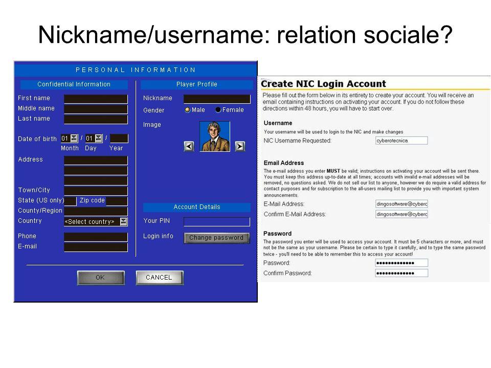 Nickname/username: relation sociale