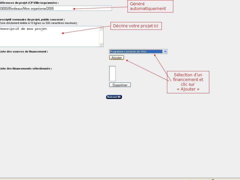Sélection dun financement et clic sur « Ajouter » Généré automatiquement Décrire votre projet ici