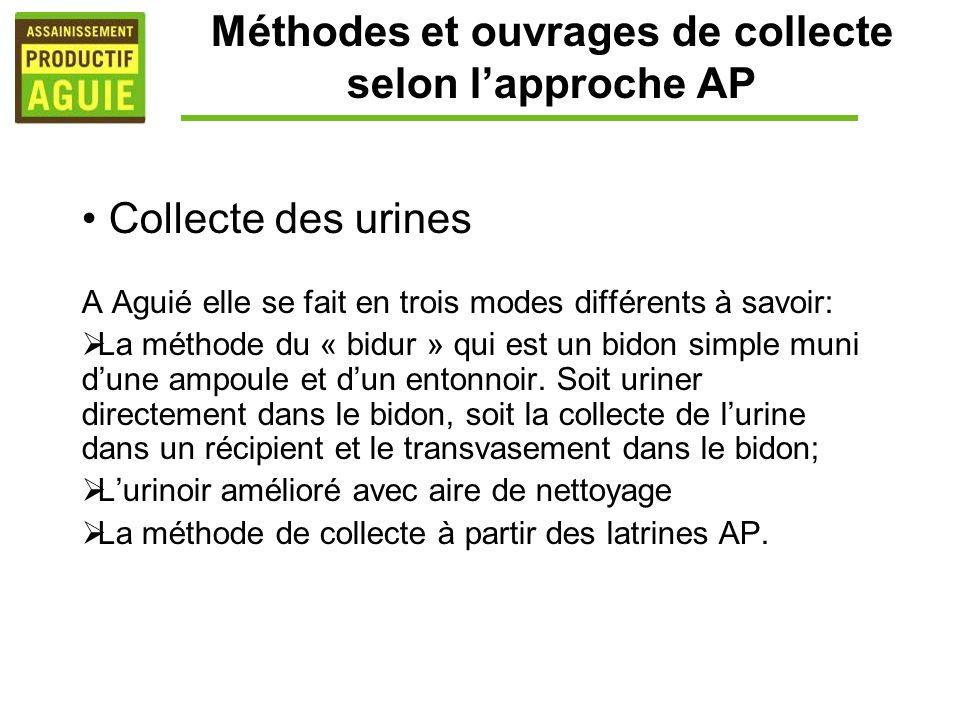 Méthodes et ouvrages de collecte selon lapproche AP Collecte des urines A Aguié elle se fait en trois modes différents à savoir: La méthode du « bidur