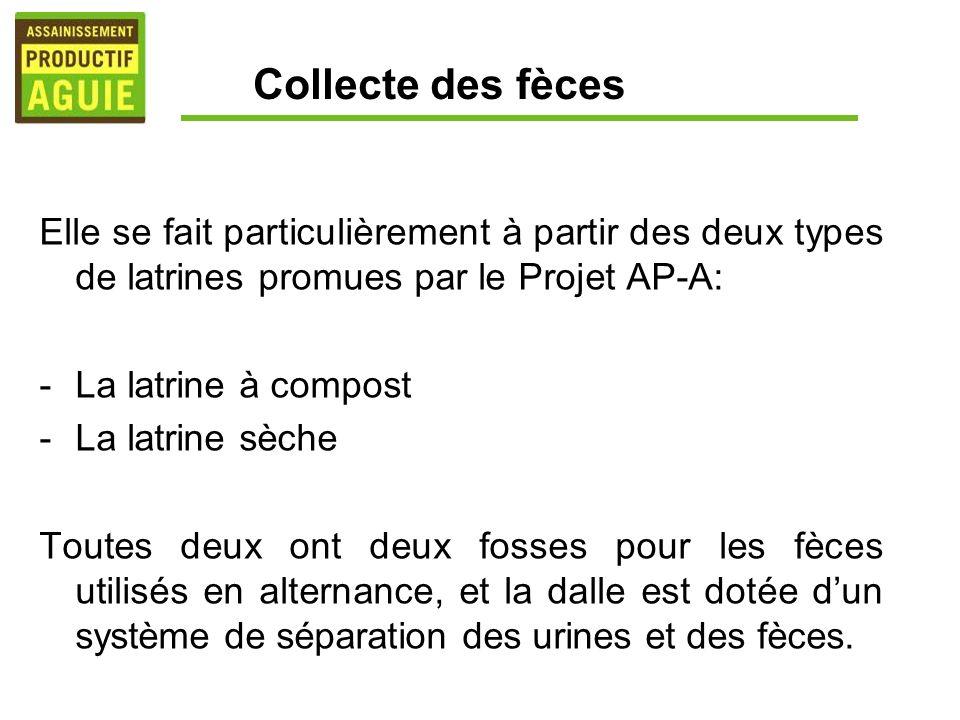 Collecte des fèces Elle se fait particulièrement à partir des deux types de latrines promues par le Projet AP-A: -La latrine à compost -La latrine sèc