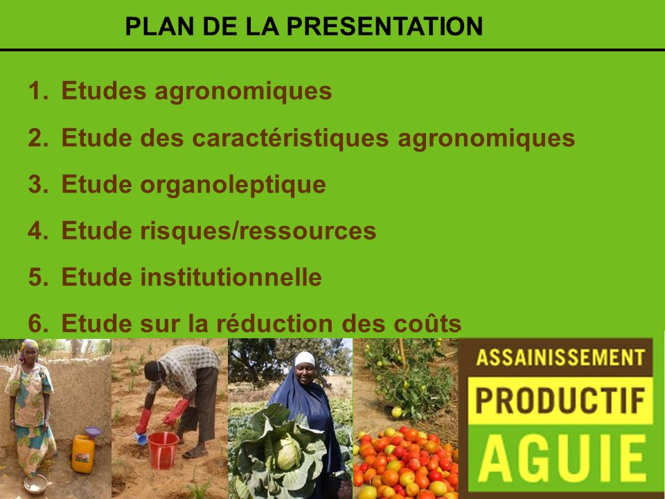 1.Etudes agronomiques