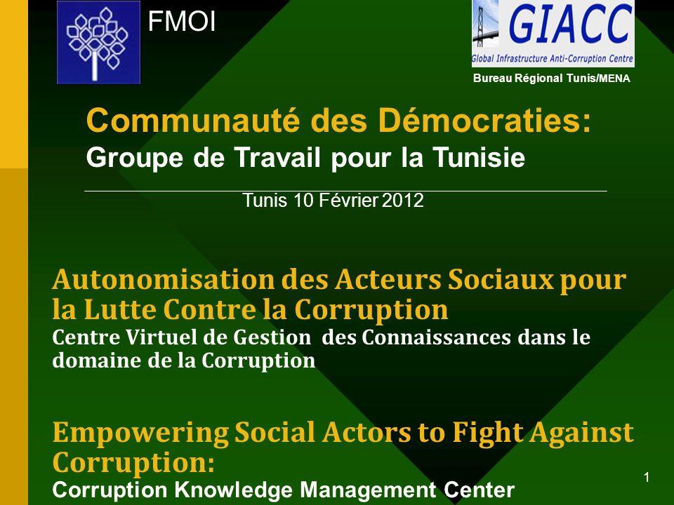 FMOI Autonomisation des Acteurs Sociaux pour la Lutte Contre la Corruption Centre Virtuel de Gestion des Connaissances dans le domaine de la Corruptio