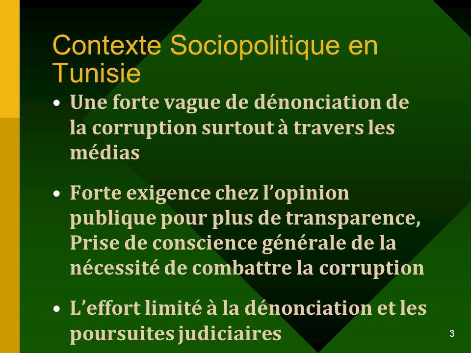 Contexte Sociopolitique en Tunisie Une forte vague de dénonciation de la corruption surtout à travers les médias Forte exigence chez lopinion publique