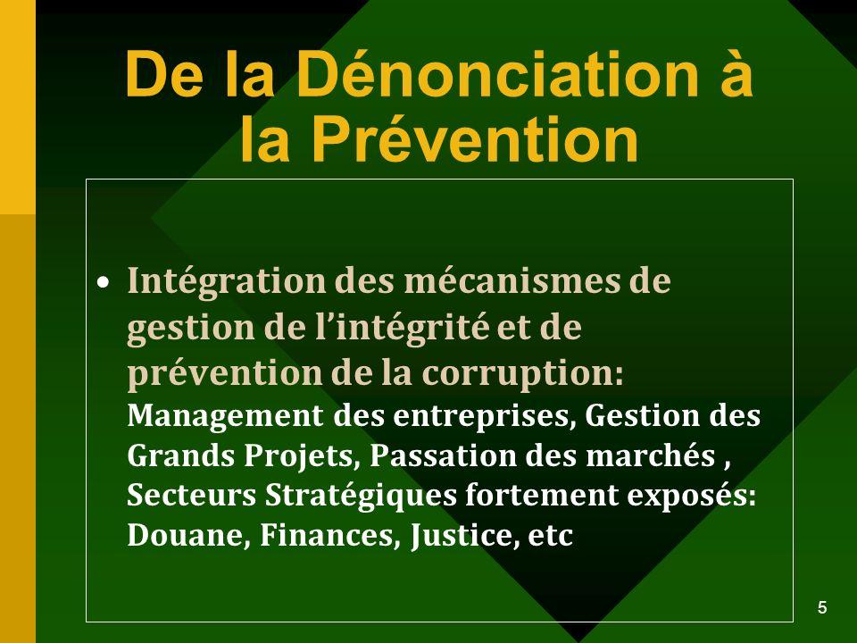 De la Dénonciation à la Prévention Intégration des mécanismes de gestion de lintégrité et de prévention de la corruption: Management des entreprises,
