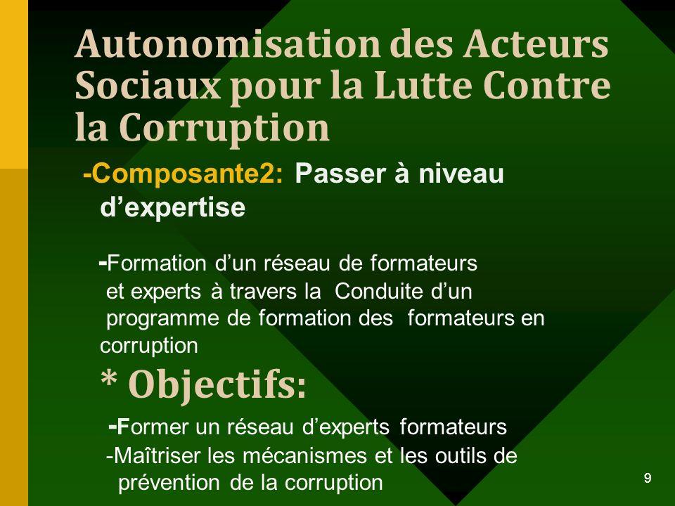 Autonomisation des Acteurs Sociaux pour la Lutte Contre la Corruption -Composante2: Passer à niveau dexpertise - Formation dun réseau de formateurs et