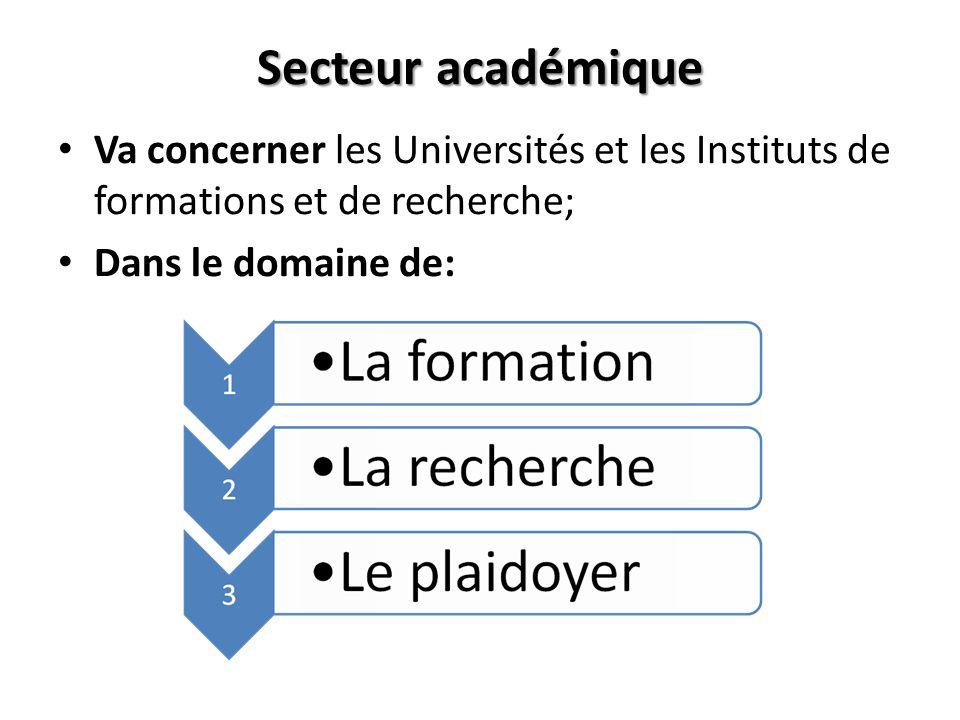 Secteur académique Va concerner les Universités et les Instituts de formations et de recherche; Dans le domaine de: