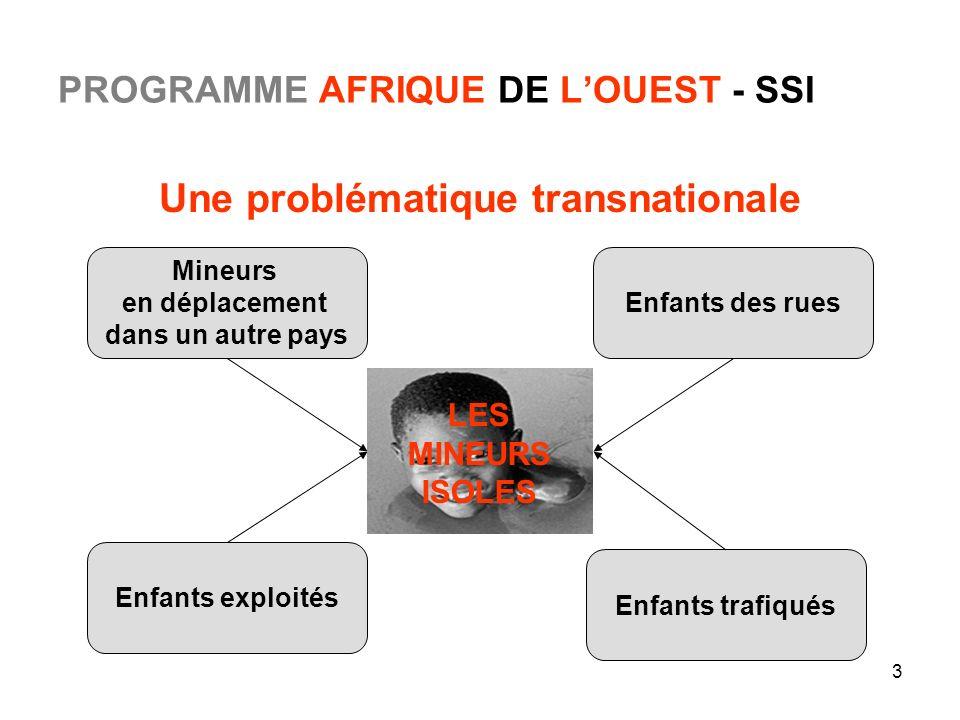 3 PROGRAMME AFRIQUE DE LOUEST - SSI Une problématique transnationale Enfants exploités Enfants trafiqués Mineurs en déplacement dans un autre pays Enf