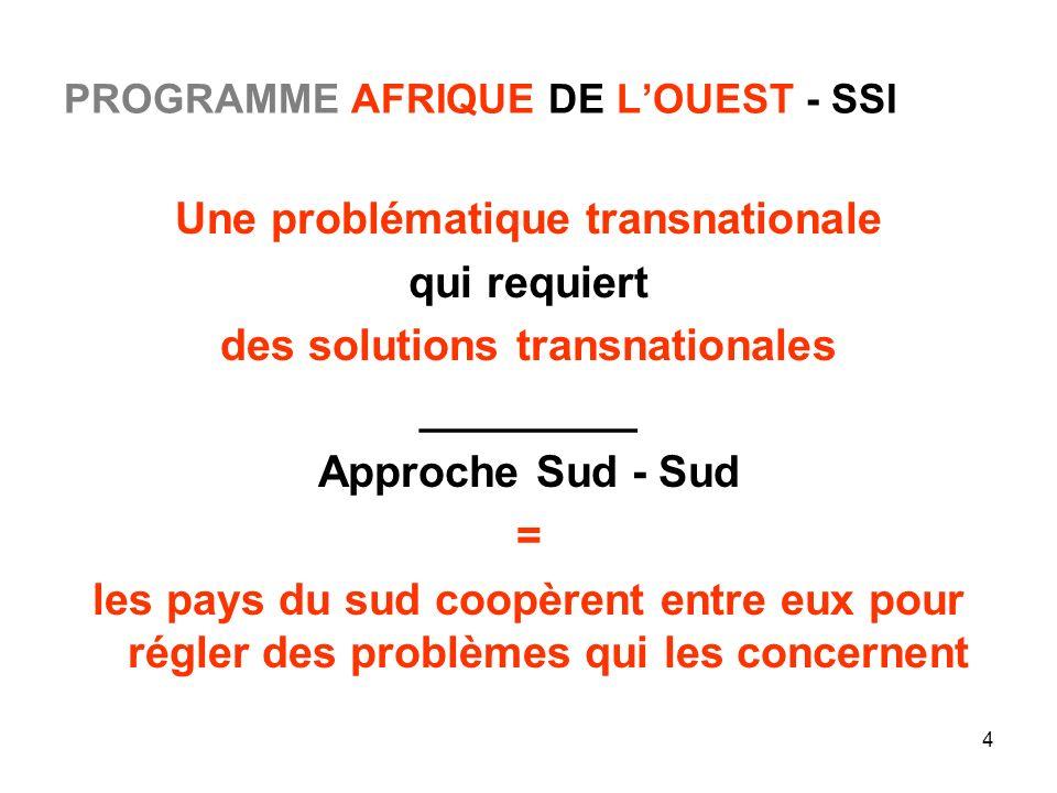 4 PROGRAMME AFRIQUE DE LOUEST - SSI Une problématique transnationale qui requiert des solutions transnationales _________ Approche Sud - Sud = les pay