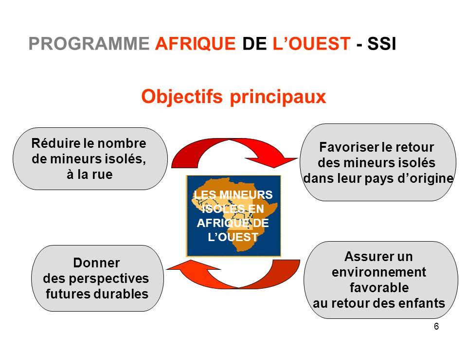 6 PROGRAMME AFRIQUE DE LOUEST - SSI Objectifs principaux Assurer un environnement favorable au retour des enfants Réduire le nombre de mineurs isolés,