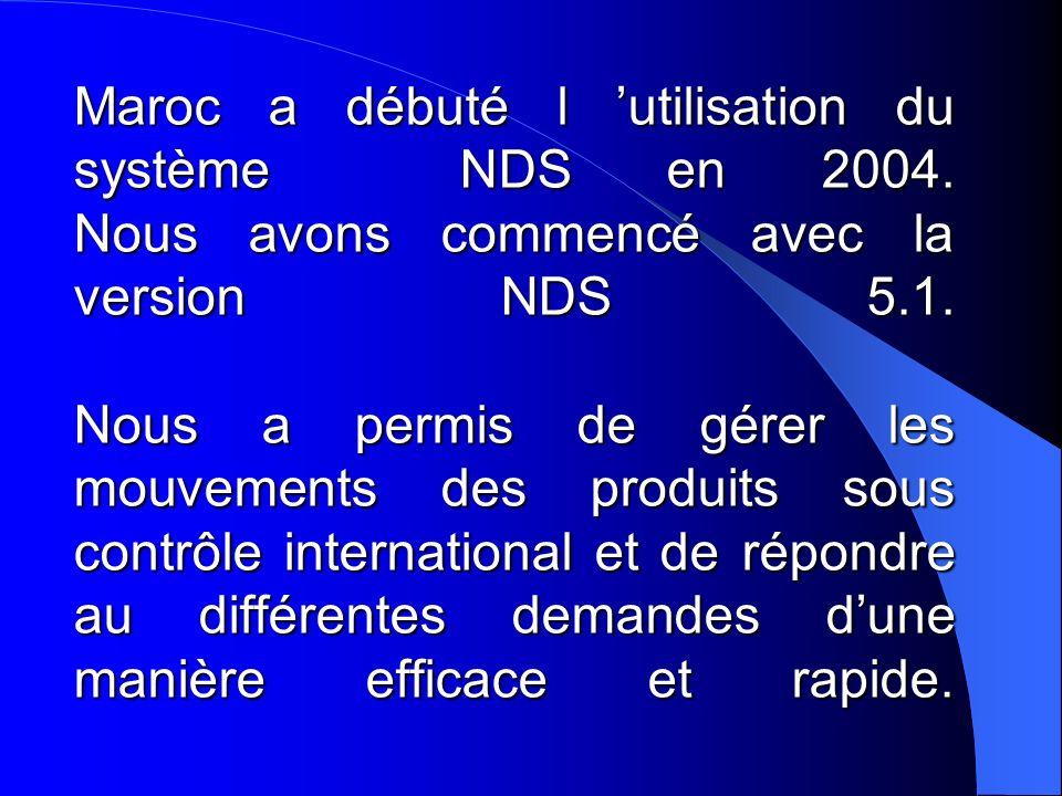 Maroc a débuté l utilisation du système NDS en 2004. Nous avons commencé avec la version NDS 5.1. Nous a permis de gérer les mouvements des produits s