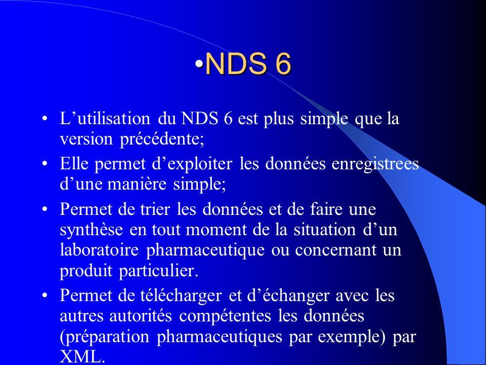 NDS 6NDS 6 Lutilisation du NDS 6 est plus simple que la version précédente; Elle permet dexploiter les données enregistrees dune manière simple; Perme