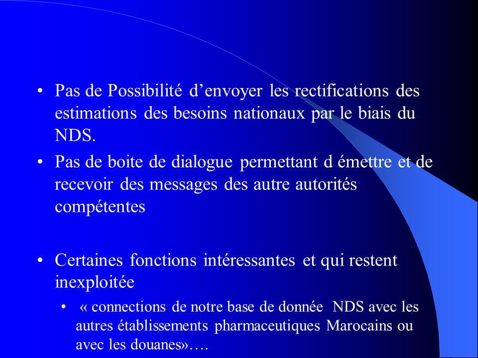 Pas de Possibilité denvoyer les rectifications des estimations des besoins nationaux par le biais du NDS. Pas de boite de dialogue permettant d émettr