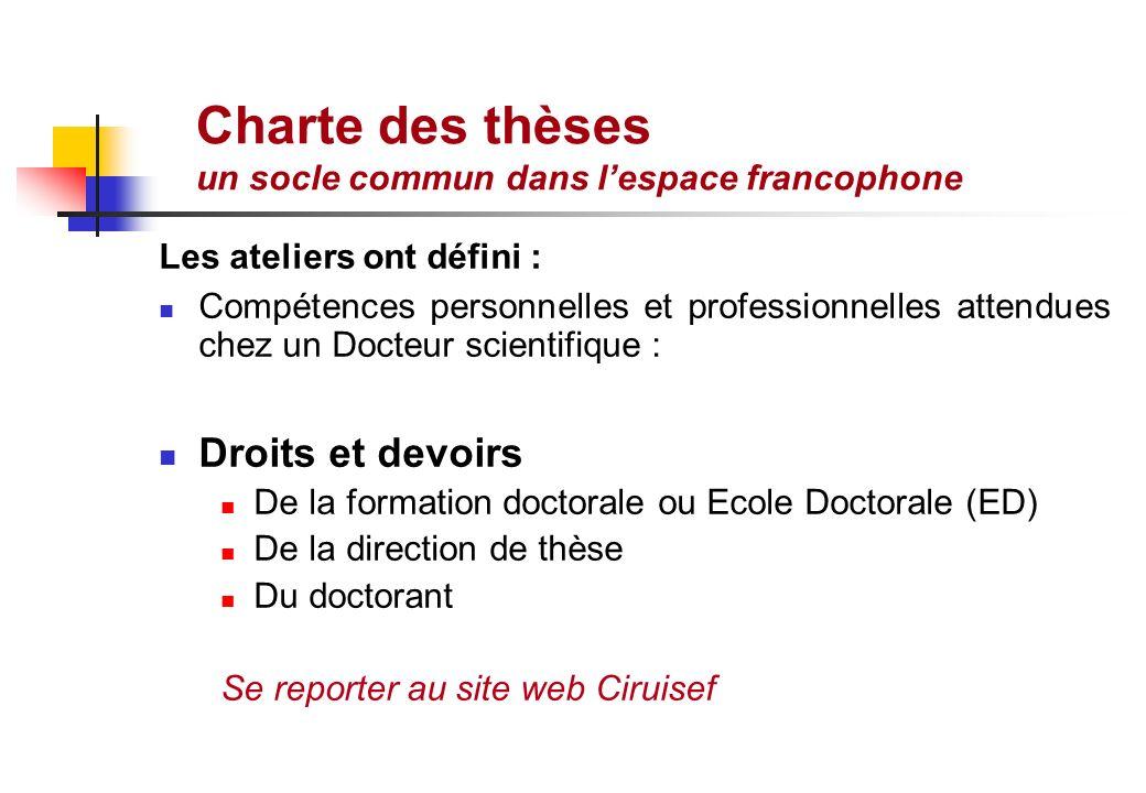 Charte des thèses un socle commun dans lespace francophone Les ateliers ont défini : Compétences personnelles et professionnelles attendues chez un Do