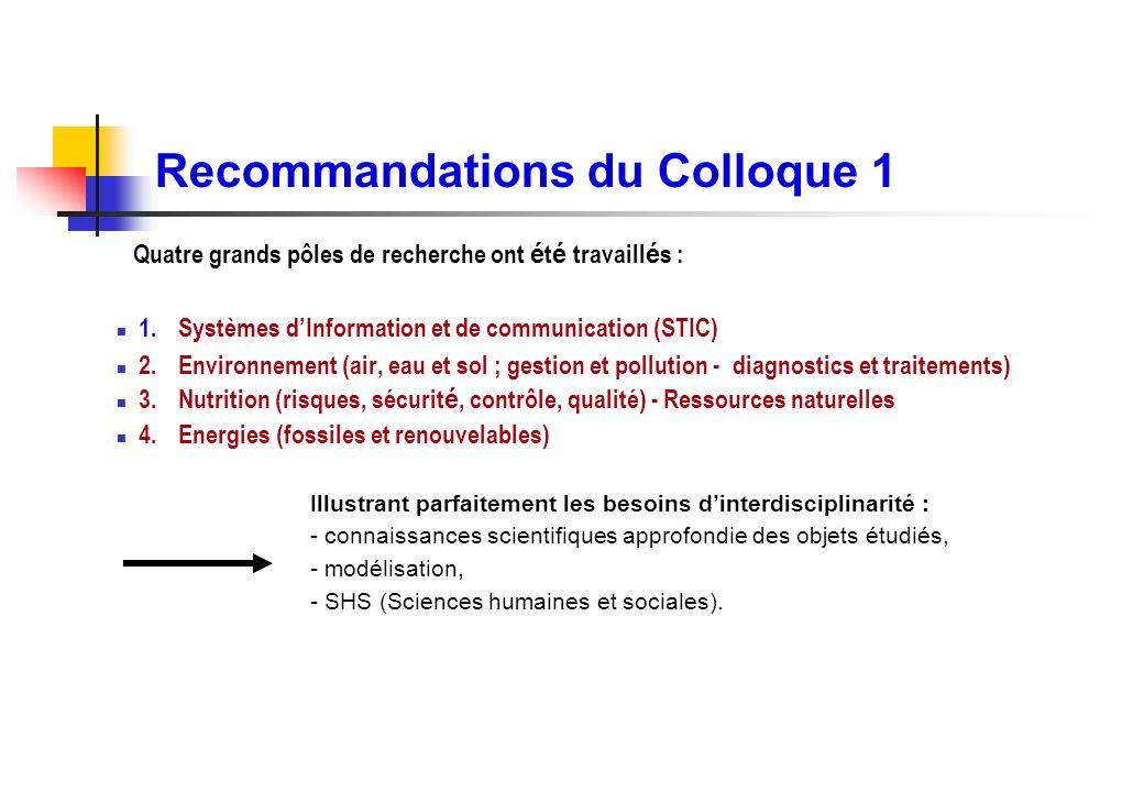 Recommandations du Colloque 1 Quatre grands pôles de recherche ont é t é travaill é s : 1.Systèmes dInformation et de communication (STIC) 2.Environne