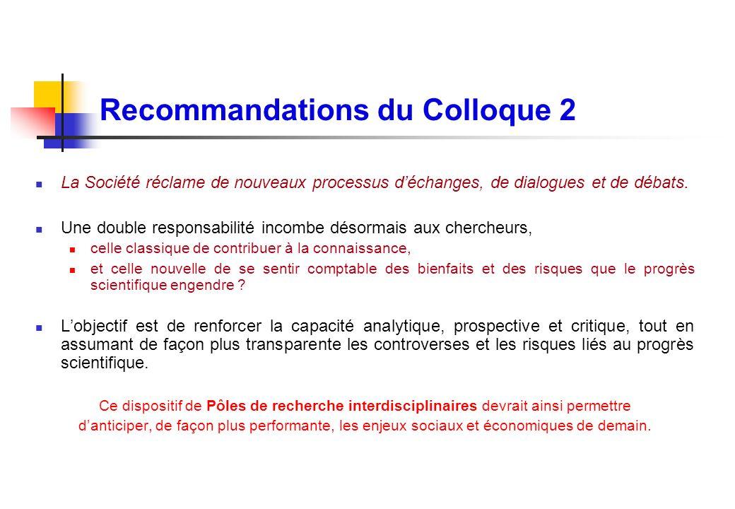Recommandations du Colloque 2 La Société réclame de nouveaux processus déchanges, de dialogues et de débats. Une double responsabilité incombe désorma