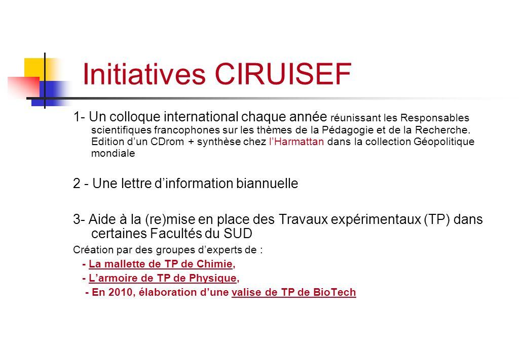 Initiatives CIRUISEF 1- Un colloque international chaque année réunissant les Responsables scientifiques francophones sur les thèmes de la Pédagogie e