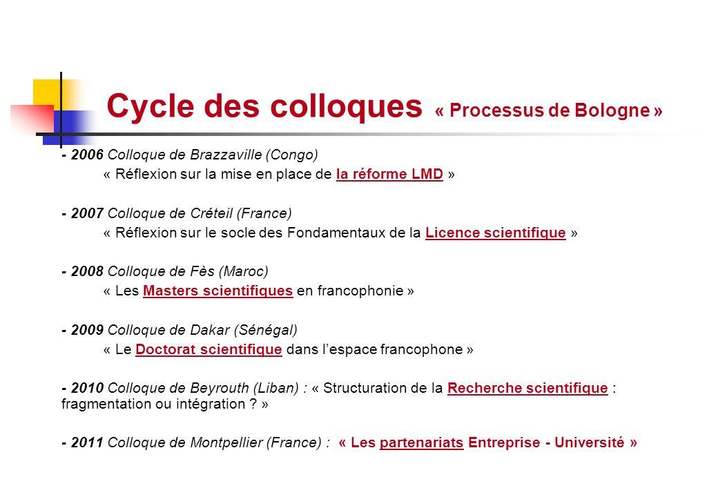 Cycle des colloques « Processus de Bologne » - 2006 Colloque de Brazzaville (Congo) « Réflexion sur la mise en place de la réforme LMD » - 2007 Colloq