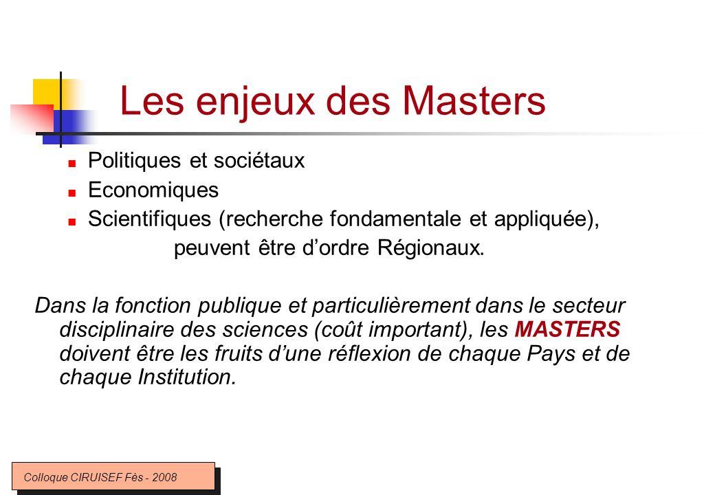 Les enjeux des Masters Politiques et sociétaux Economiques Scientifiques (recherche fondamentale et appliquée), peuvent être dordre Régionaux. Dans la