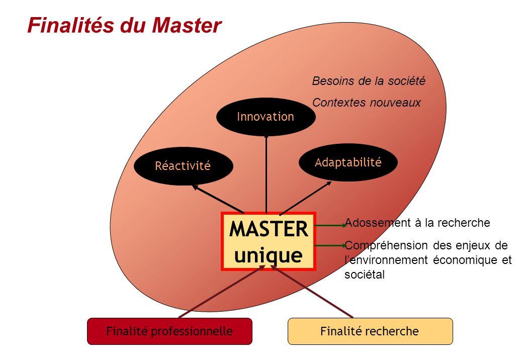 Finalité professionnelleFinalité recherche MASTER unique Adossement à la recherche Compréhension des enjeux de lenvironnement économique et sociétal R
