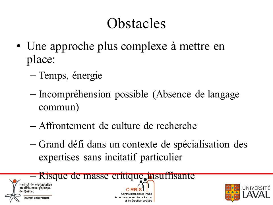 Obstacles Une approche plus complexe à mettre en place: – Temps, énergie – Incompréhension possible (Absence de langage commun) – Affrontement de cult