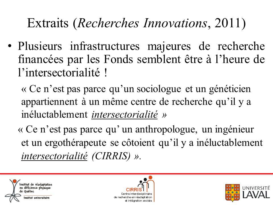 Extraits (Recherches Innovations, 2011) Plusieurs infrastructures majeures de recherche financées par les Fonds semblent être à lheure de lintersector