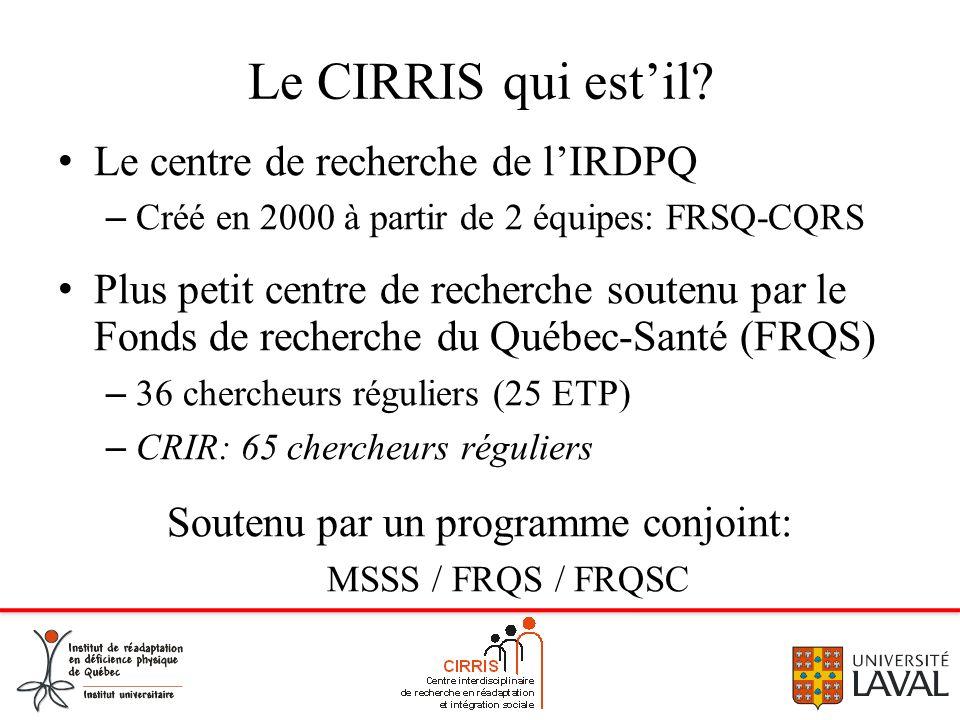 Le CIRRIS qui estil? Le centre de recherche de lIRDPQ – Créé en 2000 à partir de 2 équipes: FRSQ-CQRS Plus petit centre de recherche soutenu par le Fo