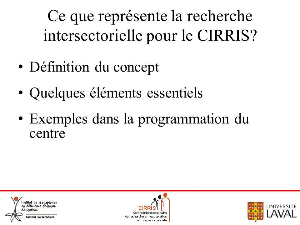 Ce que représente la recherche intersectorielle pour le CIRRIS? Définition du concept Quelques éléments essentiels Exemples dans la programmation du c