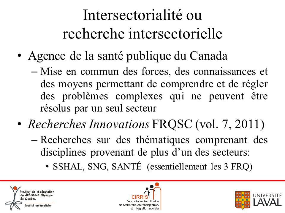 Intersectorialité ou recherche intersectorielle Agence de la santé publique du Canada – Mise en commun des forces, des connaissances et des moyens per