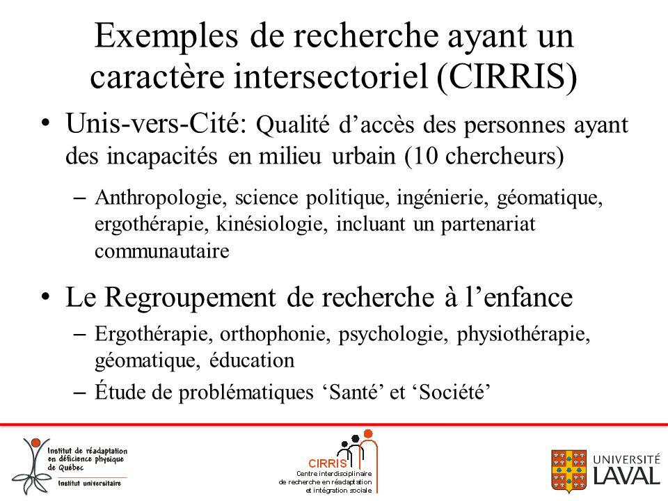 Exemples de recherche ayant un caractère intersectoriel (CIRRIS) Unis-vers-Cité: Qualité daccès des personnes ayant des incapacités en milieu urbain (