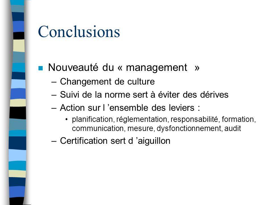 Conclusions n Nouveauté du « management » –Changement de culture –Suivi de la norme sert à éviter des dérives –Action sur l ensemble des leviers : pla
