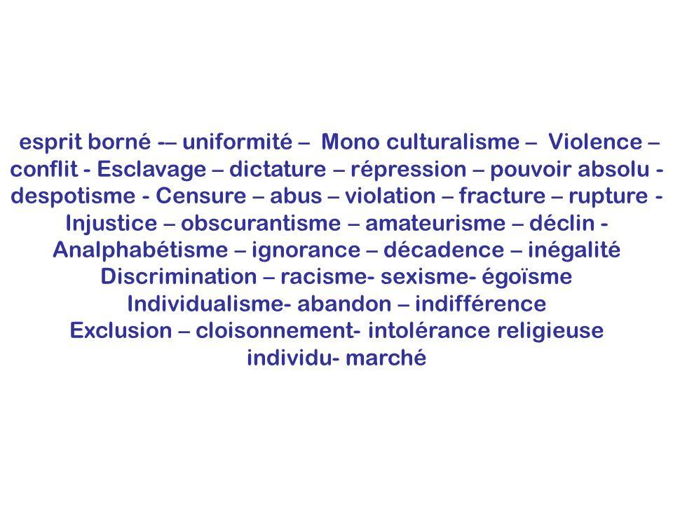 esprit borné -– uniformité – Mono culturalisme – Violence – conflit - Esclavage – dictature – répression – pouvoir absolu - despotisme - Censure – abu