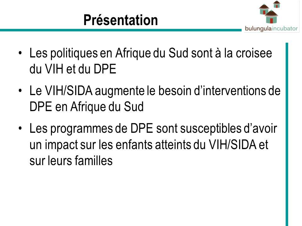 DPE et VIH sur le plan des politiques Depuis 1994, il y a eu des développements majeurs sur de nombreux plans en Afrique du Sud dont celui du DPE Le gouvernement sest engagé vis-à-vis du DPE –identifié comme priorité APEX (2008) et a promis détendre massivement les services de DPE.