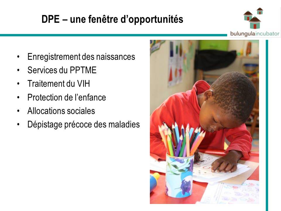 DPE – une fenêtre dopportunités Enregistrement des naissances Services du PPTME Traitement du VIH Protection de lenfance Allocations sociales Dépistag