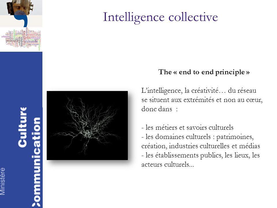 Intelligence collective The « end to end principle » Lintelligence, la créativité… du réseau se situent aux extrémités et non au cœur, donc dans : - l