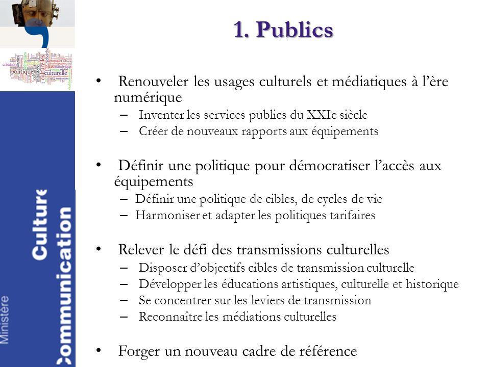 1. Publics Renouveler les usages culturels et médiatiques à lère numérique – Inventer les services publics du XXIe siècle – Créer de nouveaux rapports