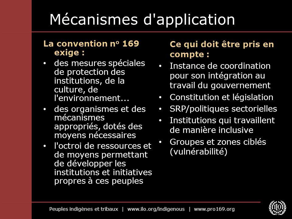 Peuples indigènes et tribaux | www.ilo.org/indigenous | www.pro169.org Mécanismes d'application La convention n o 169 exige : des mesures spéciales de