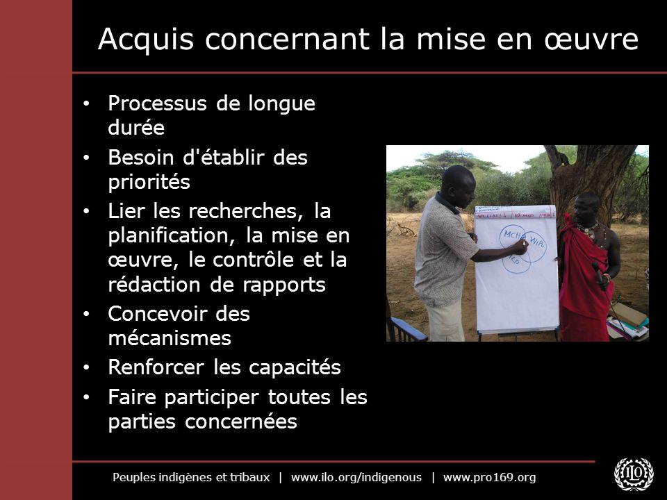 Peuples indigènes et tribaux | www.ilo.org/indigenous | www.pro169.org Processus de longue durée Besoin d'établir des priorités Lier les recherches, l