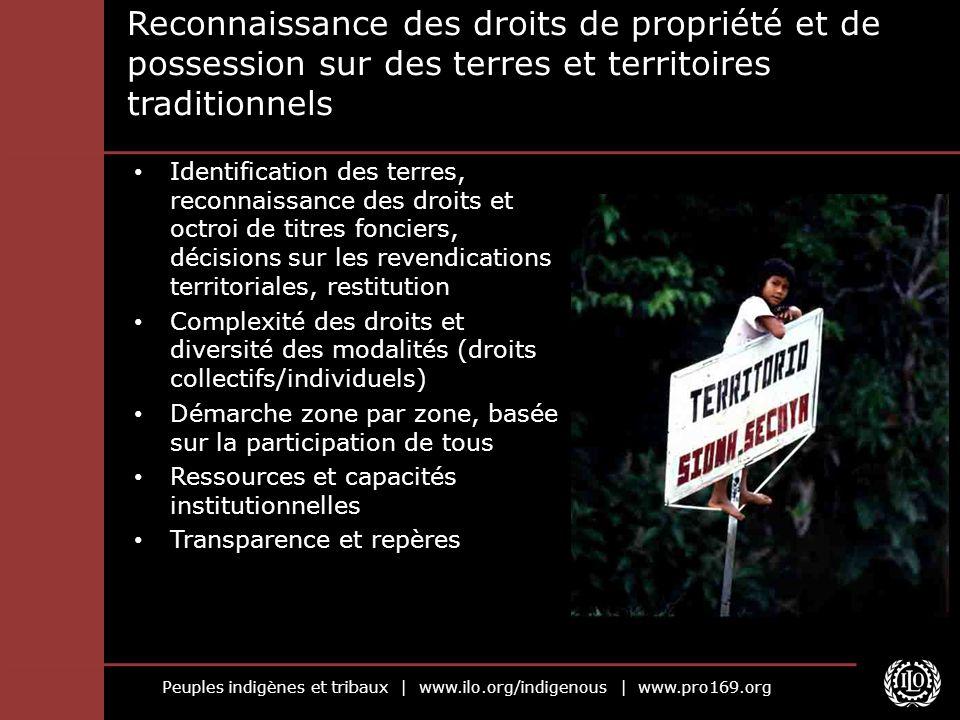 Peuples indigènes et tribaux | www.ilo.org/indigenous | www.pro169.org Reconnaissance des droits de propriété et de possession sur des terres et terri