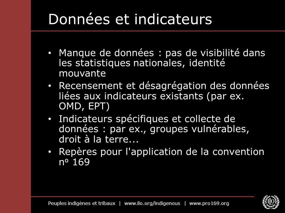 Peuples indigènes et tribaux | www.ilo.org/indigenous | www.pro169.org Données et indicateurs Manque de données : pas de visibilité dans les statistiq