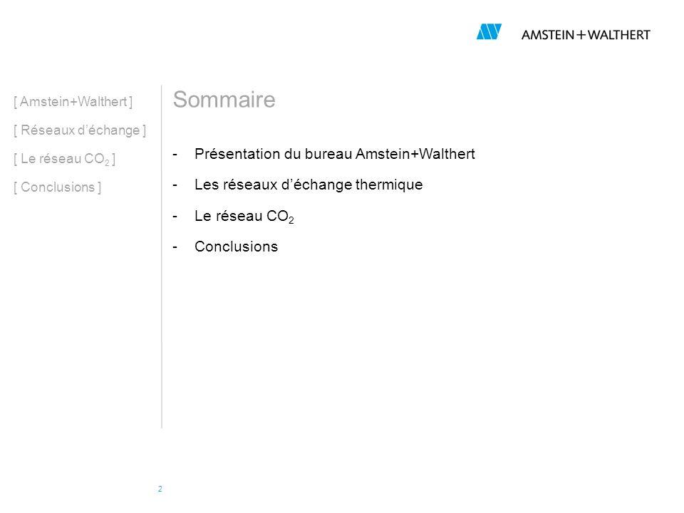 2 Sommaire -Présentation du bureau Amstein+Walthert -Les réseaux déchange thermique -Le réseau CO 2 -Conclusions [ Amstein+Walthert ] [ Réseaux déchan