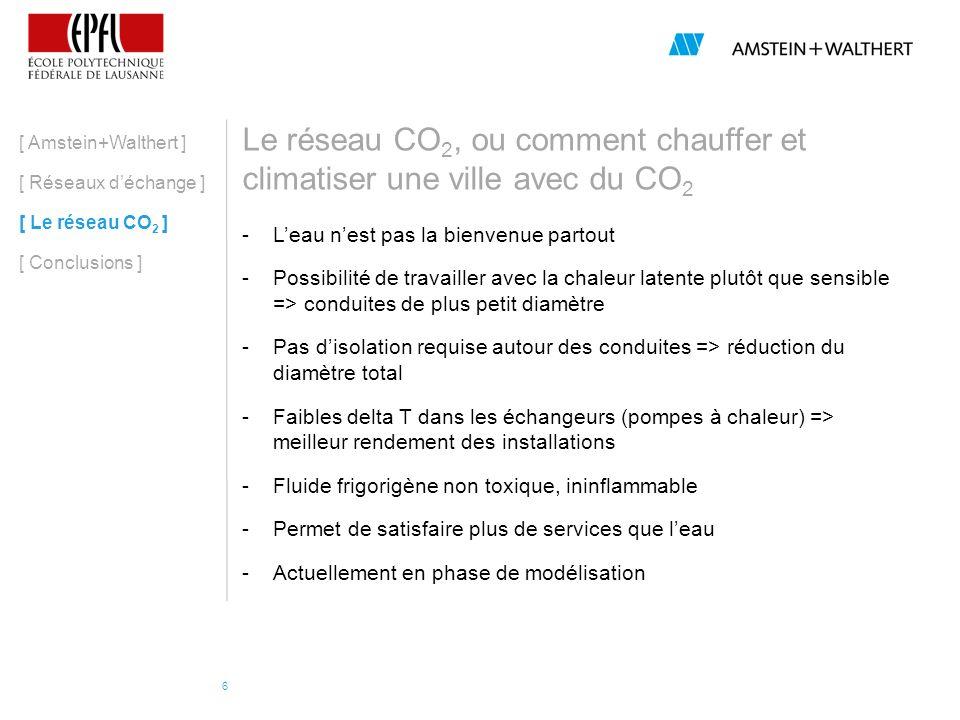Le réseau CO 2, ou comment chauffer et climatiser une ville avec du CO 2 [ Amstein+Walthert ] [ Réseaux déchange ] [ Le réseau CO 2 ] [ Conclusions ] CO 2 liquide (~12 o C) CO 2 vapeur (~12 o C)