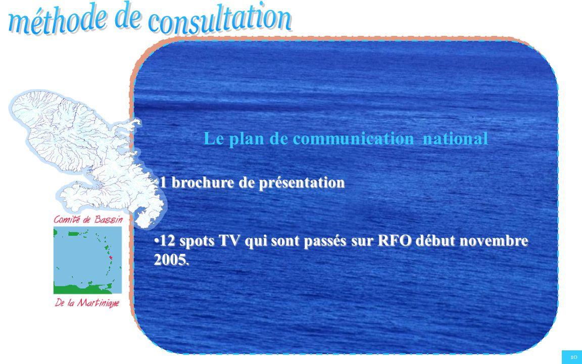 10 Le plan de communication national 1 brochure de présentation1 brochure de présentation 12 spots TV qui sont passés sur RFO début novembre 2005.12 s